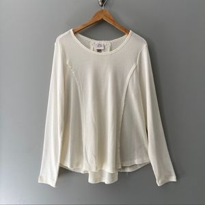 Knox Rose Cross Back Boho Thermal Top Cream XL